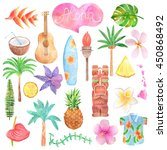 Watercolor Hawaii Icon Set...