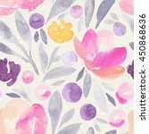 seamless watercolor floral... | Shutterstock . vector #450868636
