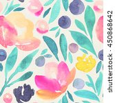 seamless watercolor floral... | Shutterstock . vector #450868642