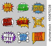 set of nine sale tags. pop art... | Shutterstock .eps vector #450870238