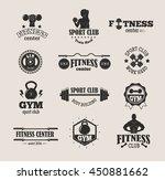 set of monochrome gym fitness... | Shutterstock .eps vector #450881662