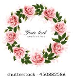 beautiful rose wreath. vector. | Shutterstock .eps vector #450882586