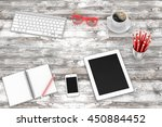 office workplace set on wooden... | Shutterstock . vector #450884452