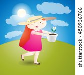 girl is holding a flowerpot ... | Shutterstock .eps vector #450936766