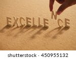 excellence wooden letters... | Shutterstock . vector #450955132
