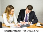 two business people using... | Shutterstock . vector #450968572