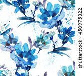 Stock photo watercolor flowers seamless pattern 450975322