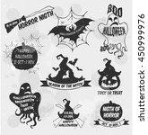 halloween set  drawn halloween... | Shutterstock .eps vector #450999976
