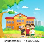 happy children in front of the... | Shutterstock .eps vector #451002232