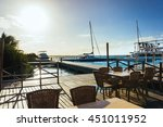 sea view cafe with tables at... | Shutterstock . vector #451011952