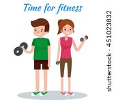 man and woman doing fitness... | Shutterstock .eps vector #451023832