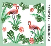 flamingo birds and palm leaves... | Shutterstock .eps vector #451025182