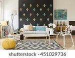 modern flat with blackboard ... | Shutterstock . vector #451029736