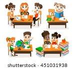 back to school set. pupils read ... | Shutterstock .eps vector #451031938