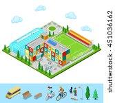 isometric city. school building ... | Shutterstock .eps vector #451036162