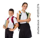 two happy students standing... | Shutterstock . vector #451051276
