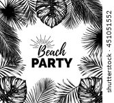 vector vintage beach party... | Shutterstock .eps vector #451051552