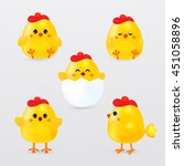 Cute Cartoon Chicken Set. Funn...