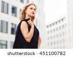portrait in profile of blond... | Shutterstock . vector #451100782