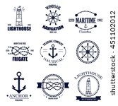 set of vintage retro nautical... | Shutterstock .eps vector #451102012