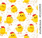 seamless pattern with cute baby ... | Shutterstock .eps vector #451103905