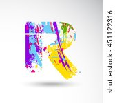 r alphabet with colors splash... | Shutterstock .eps vector #451122316
