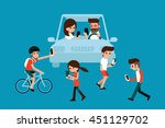 people using smartphones while... | Shutterstock .eps vector #451129702