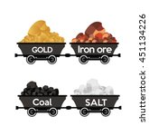 gold iron ore coal salt wagons | Shutterstock .eps vector #451134226