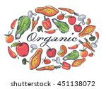 organic fruits and vegetables... | Shutterstock .eps vector #451138072