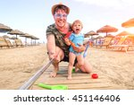 father and daughter taking... | Shutterstock . vector #451146406