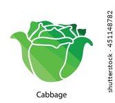 cabbage icon. flat color design....