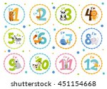 Stock vector cute birthday stickers with animals for babies 451154668