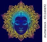buddha face over ornate mandala ... | Shutterstock .eps vector #451160692