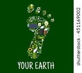 go green symbol of footprint... | Shutterstock .eps vector #451169002