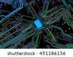 colorful blue chip pcb board... | Shutterstock . vector #451186156