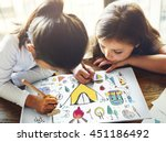 summer camp learning... | Shutterstock . vector #451186492