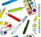 pencils  paint   brush and... | Shutterstock .eps vector #451190692