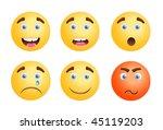 vector smiles set | Shutterstock .eps vector #45119203