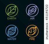nature 4 elements circle line... | Shutterstock .eps vector #451193722