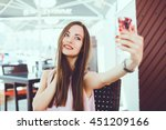 young beauty woman make selfie... | Shutterstock . vector #451209166