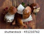 Mushroom Boletus On Wooden...