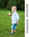 portrait of cute little boy on... | Shutterstock . vector #451212928