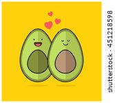 avocado love heart  line art in ... | Shutterstock .eps vector #451218598