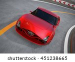 red sports car on highway. 3d... | Shutterstock . vector #451238665