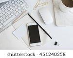 desktop workplace top view.... | Shutterstock . vector #451240258