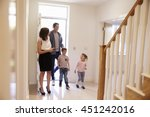 realtor showing young family... | Shutterstock . vector #451242016