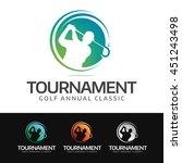 logo of a golfer in swing... | Shutterstock .eps vector #451243498