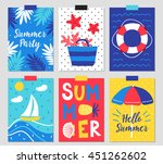 set of six summer greeting... | Shutterstock .eps vector #451262602