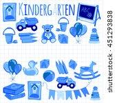 kindergarten play and study... | Shutterstock .eps vector #451293838