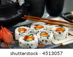 sushi meal with teapot and cups | Shutterstock . vector #4513057